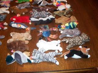 TY BEANIE BABIES RETIRED ORIGINAL LOT 46 BEARS WITH TAGS 1993 TO 1999