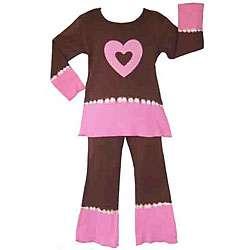 Ann Loren Girls Chocolate/ Pink Shirt and Pants Set