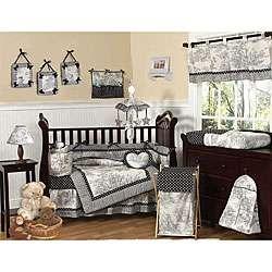 White French Toile/ Polka Dot Baby Crib Bedding Set