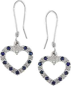 10k White Gold Blue Sapphire Diamond Heart Earrings