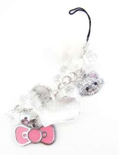 Bow Plush Hearts Bell Dangle  Mp4 Cell Phone Strap & Charm