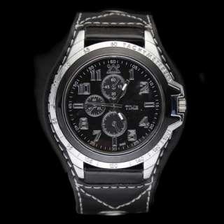 Mens Boys Big Dial Time Showing Leatheroid New Quartz Wrist Watch