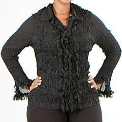 Kaelyn Max Womens Plus Size Heart Shape Fringe Top