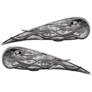 Reflective Silver Tribal Motorcycle Gas Tank Flame Decals: Automotive