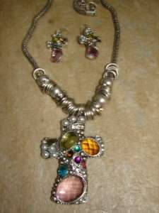 WESTERN COWGIRL JEWELRY Turquoise NECKLACE Cross BLING