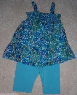 NWT GIRLS LITTLE ELLA BLUE DRESS & LEGGINGS SIZE 12 18M