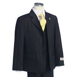 BJK Collection Boys Black Suit with Gold Stripes