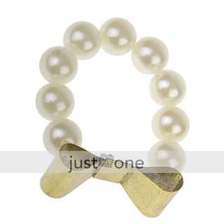 Pearl bracelet with Large retro bronze gold metal bow knot