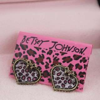 NEW BETSEY JOHNSON LEOPARD HEART BOW STUDS EARRINGS