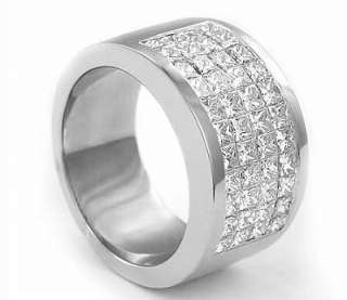 15 ct Princess New Diamond Wedding Band 14k White Gold sz7.75