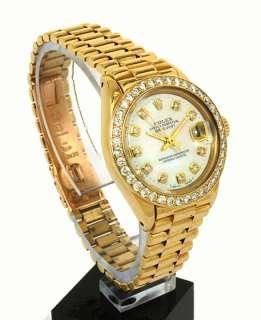LADIES ROLEX 18K GOLD & DIAMONDS PRESIDENT DATEJUST WRIST WATCH