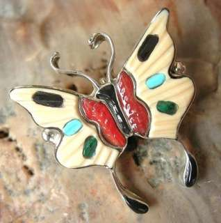 ZUNI Indian Sterling Silver Multi Gem Inlay Butterfly Pendant