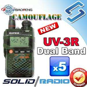 new original Camouflage UV 3R BAOFENG Dual Band radio + Earpiece 2 way