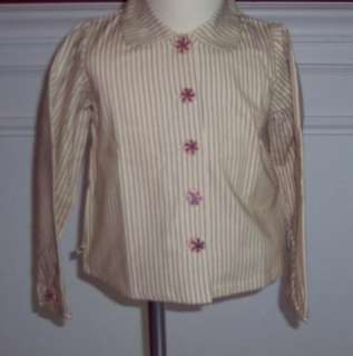 Coco Bonbons Candy Striped Blouse Shirt Pink Brown New