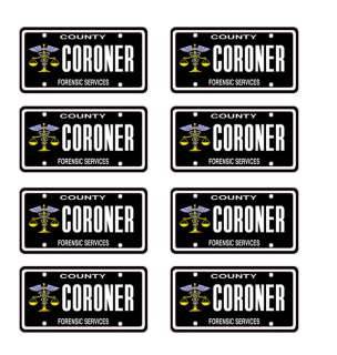 25 scale model coroner car license tag plates hearse death funeral
