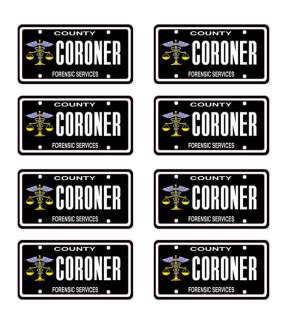 25 scale model coroner car license tag plates hearse death funeral