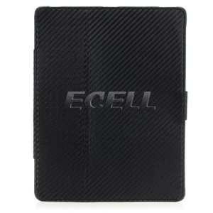 Ecell   BLACK LEATHER CARBON FIBRE CASE STAND FOR APPLE