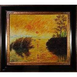 Claude Monet Le Coucher Du Soleil La Seine Canvas Art