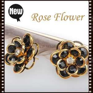 New Beautiful Black Gold Color Rose Flower Earring F