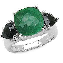 Silver Emerald and Black Sapphire 3 stone Ring