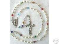 Personalized MOTHERS ROSARY Crafted w/ Swarvoski Pearls & Glass