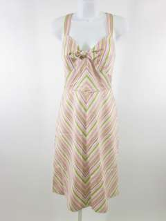LAUNDRY BY SHELLI SEGAL Pink Green Striped Dress Sz 6