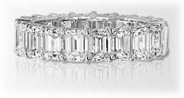 Emerald Cut DIAMOND ETERNITY BAND Wedding RING 14K White Gold, size 5