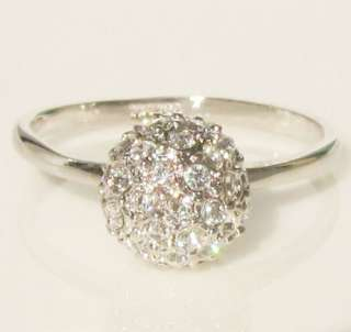 New ball swarovski crystal white gold GP ring promise engagement