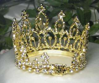 MINI CLEAR RHINESTONE FULL HAIR CROWN TIARA PARTY M279G
