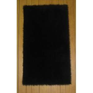 Flokati Faux Fur Rugs 6 x 6 (BLACK) Home & Kitchen
