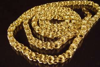 NEW 38 INCH GOLD PLATED SQUARE BYZANTINE NECKLACE CHAIN