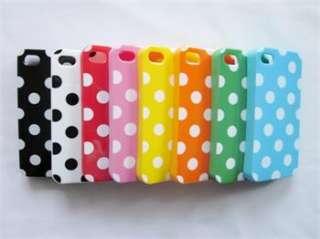 Green White Soft TPU Plastic Polka Dots Case Cover Skin for iPhone 4