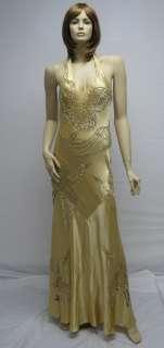 Designer Sue Wong N6510 Peacock Gold Dress Evening Cocktail Wedding