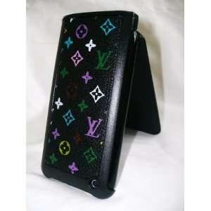 iPhone LEATHER FLIP CASE 3g 3gs black multicolor monogram