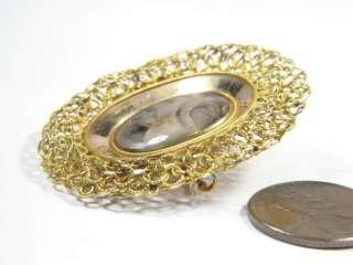 ANTIQUE ENGLISH 15K GOLD HAIR MOURNING LOCKET PIN c1820
