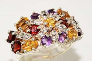91CT OVAL & ROUND CUT MULTI COLOR GEMSTONE RING SIZE 7