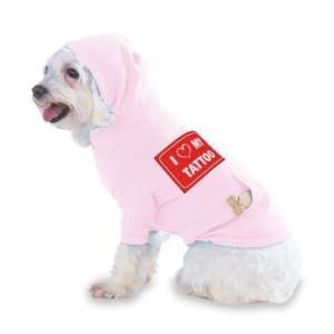 I LOVE MY TATTOO Hooded (Hoody) T Shirt with pocket for