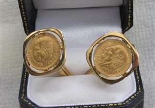 GOLD CUFFLINKS MEXICO 2 PESO COIN, COINS 1945, 22K