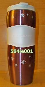 STAINLESS STEEL RED XMAS SPARKLING WHITE LID TUMBLER TRAVEL MUG