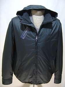 Lauren Mens L Hooded Leather Jacket Coat Zip Fleece Black Hoodie Line