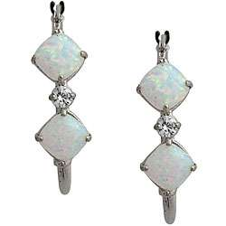 10k White Gold Cushion cut Opal Hoop Earrings
