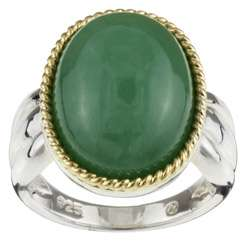 14k Yellow Gold and Silver Oval Green Jade Ring (Size 7)
