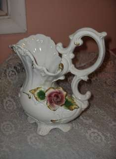 Antique Capodimonte Porcelain China Red Rose Pitcher Vase Signed Italy