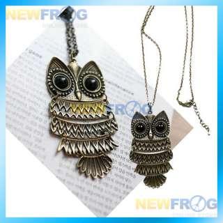 Vintage Copper Big Eyes Owl Lampwork Pendant Necklace N