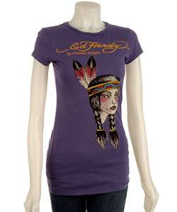 Ed Hardy Womens Short sleeve Indian Girl T shirt