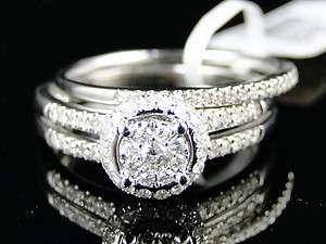 WOMENS ROUND WHITE GOLD DIAMOND ENGAGEMENT BRIDAL WEDDING RING SET