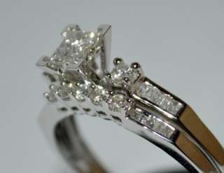 DIAMOND WEDDING SET WHITE GOLD 2 PIECE ENGAGEMENT RING + BAND .5ct