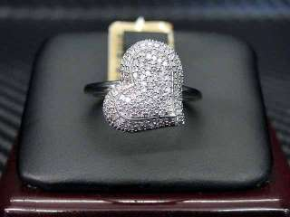 LADIES DIAMOND RING 10K WHITE GOLD ROUND CUT MICRO PAVE SET HEART
