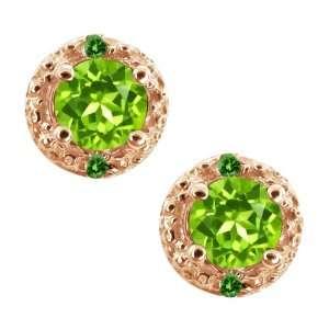 0.42 Ct Round Green Peridot and Green Diamond 14k Rose