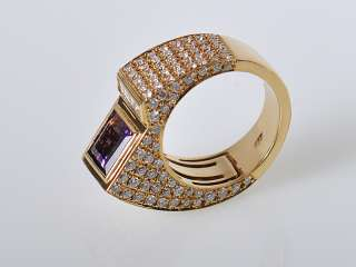 Technomarine Yellow Gold Diamond Amethyst Sculpted Ring